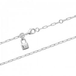 Bracelet argent massif 925/000 rhodié petit pendant cadenas