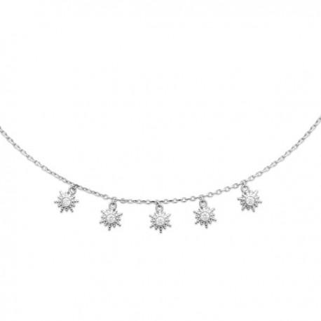 Collier argent massif 925/000 rhodié pampilles étoiles zirconium