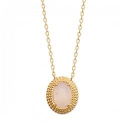Collier Plaqué Or 18 carats pierre naturelle quartz rose