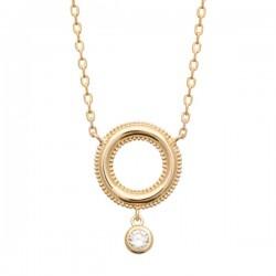 Collier Plaqué Or 18 carats anneau travaillé pampille zirconium