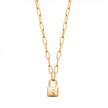 Collier Plaqué Or 18 carats et zirconium pendentif petit cadenas