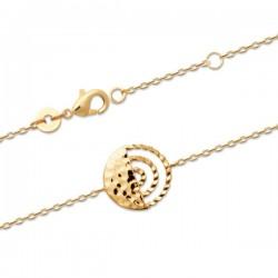 Bracelet Plaqué Or 18 carats motif rond effet martelé