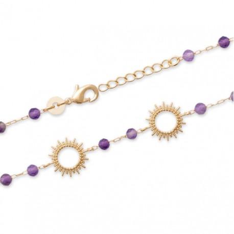 Bracelet Plaqué Or 18 carats soleils perles pierres améthystes véritables