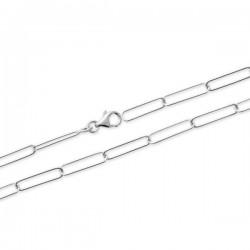 Duo collier + bracelet argent massif 925/000 maille rectangulaire trombones