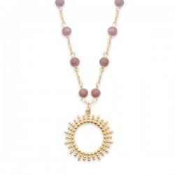 Collier Plaqué Or 18 carats soleil pierres naturelles tourmaline rose
