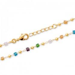 Duo collier + bracelet Plaqué Or 18 carats perles cristal