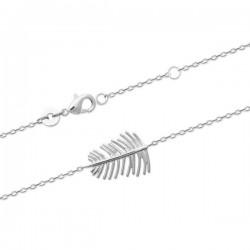 Bracelet plume ajourée argent massif 925/000 rhodié