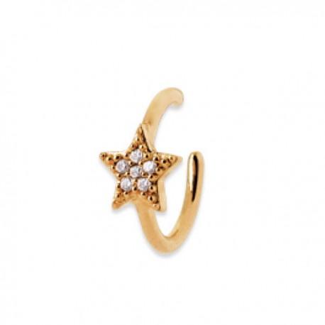 Duo bagues d'oreilles Plaqué or 18 carats et zirconium étoile + anneau