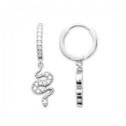 Boucles d'oreilles créoles argent massif 925/000 pendants serpents