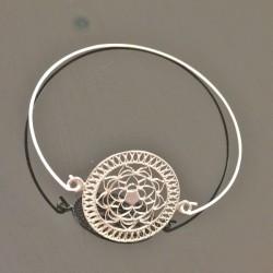 Bracelet jonc argent 925/000 mandalas rosace Bijou tendance