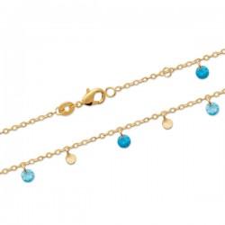 Bracelet Plaqué Or 18 carats pampilles ton bleu