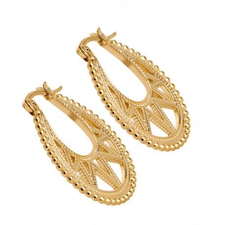 Boucles d'oreilles créoles ovales Plaqué Or 18 carats Bijou tendance