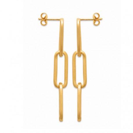 Boucles d'oreilles pendantes maillons de chaine Plaqué Or 18 carats