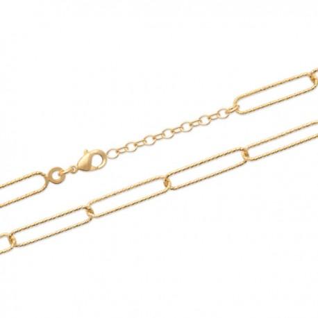 Collier maille rectangulaire trombones Plaqué or 18 carats