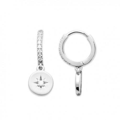 Boucles d'oreilles créoles pendants etoiles argent 925/000 et zirconium