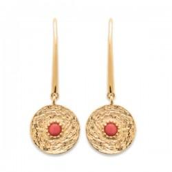 Boucles d'oreilles Plaqué Or 18 carats pierre de couleur corail