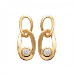 Boucles d'oreilles maillons de chaine Plaqué OR 18 carats et zirconium