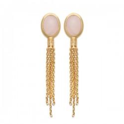 Boucles d'oreilles Plaqué Or 18 carats chainettes pierre naturelle quartz rose
