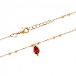 Bracelet Plaqué Or 18 carats mailles billes pendant pierre