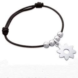 Bracelet Argent 925 et cordon noir ajustable