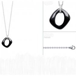 Collier en acier pendentif céramique noire et zirconium