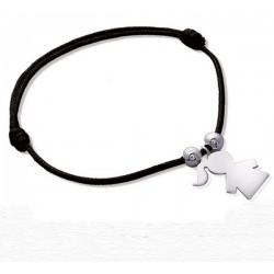 Bracelet Argent 925 et cordon noir pendentif fille