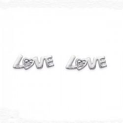 Boucles d'oreilles puces LOVE en argent 925