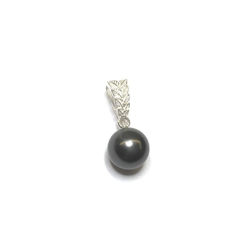 Pendentif boule cristal nacré noir Swarovski et Argent 925 décor feuillage  - Ysia Bijoux