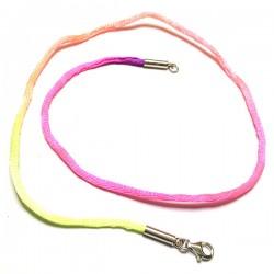 Collier cordon nylon multicolore fluo dégradé et argent 925 du 38 au 42 cm