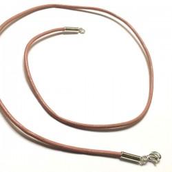 Collier cordon cuir rose pâle fermoir argent massif 925 /000