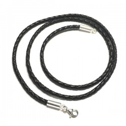 Collier cordon cuir noir tressé fermoir argent 925 /000 du 38 cm au 50 cm