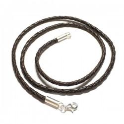 Collier cordon fil de soie noir et argent 925 du 38 cm au 50 cm